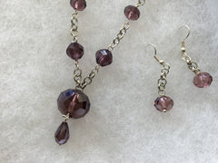 Genuine Plum Crystal Necklace & Earring Set