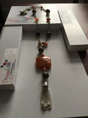 SOLD Beautiful Agate Pendant Necklace with Tassel.