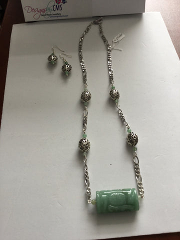 Genuine Aventurine Gem Stone (Jade Look Alike) Necklace & Earring Set.