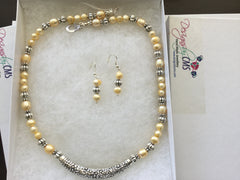 SOLD Buttercream Freash Water Pearl Choker & Earring Set