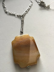 Genuine Natural Honey Coloured Agate Pendant on Chain.