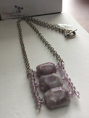 Genuine Amethyst & Jasper Pendant Necklace