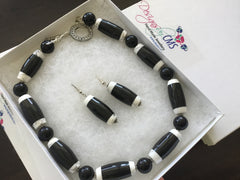 Genuine Onyx Necklace & Earring Set