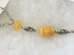 SOLD - Honey Jade Tasseled Pendant Necklace