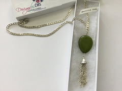 Tasseled Jade Pendant Necklace