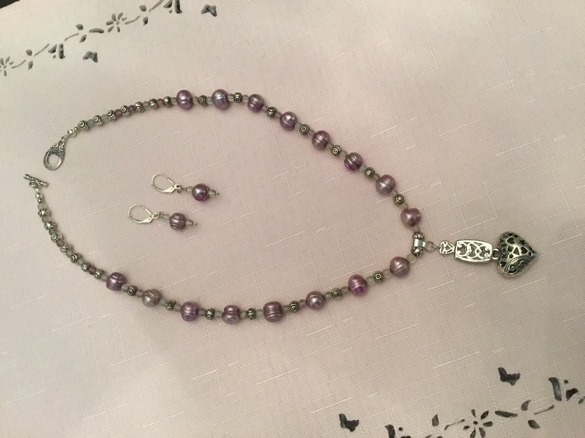 Lavender Fresh Water Pearls with Amethyst Seed Beads Choker & Earring Set