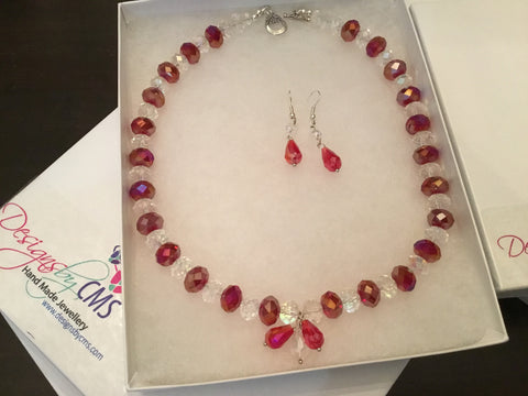 SOLD - Genuine Clear & Ruby Crystal Necklace & Earring Set