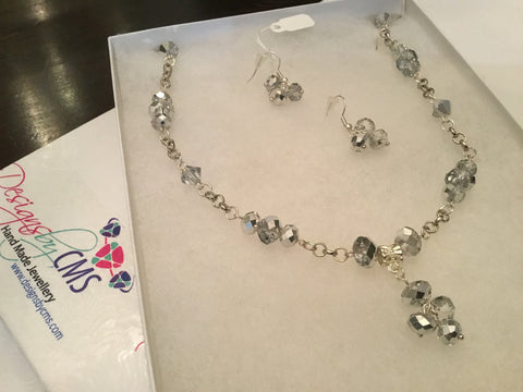 Genuine Clear & Shimmering Silvery Gray Crystal Necklace & Earring Set