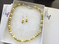 SOLD Olive & Buttercream Fresh Water Pearl Choker & Earrings
