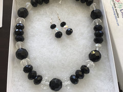 Beautiful Faceted Jet & Clear Crystal Bead Necklace & Earring Set