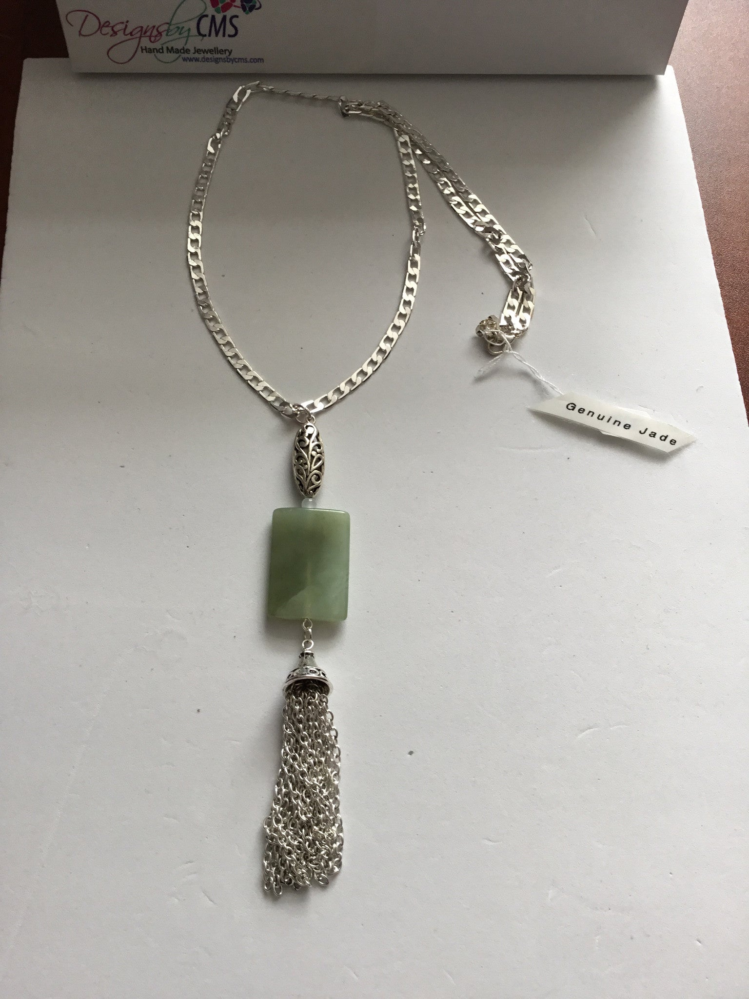 SOLD - Genuine Jade Pendant Necklace with Tassel