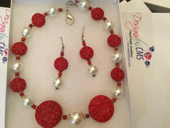 SOLD - Hand Carved Cinnibar & Pearl Necklace & Earring Set