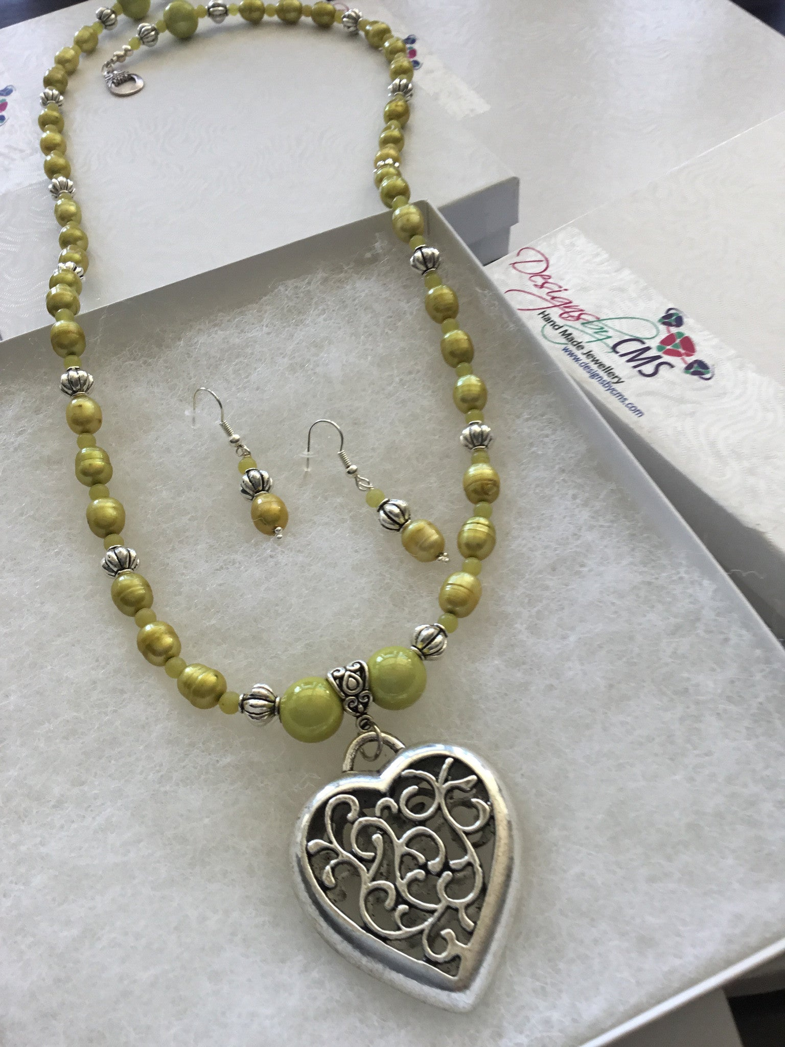 Fresh Water Pearl & Jade Heart Pendant Necklace & Earring Set
