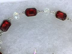 Genuine Crystal Beads with encased ruby faceted glass beads Necklace & Earring Set