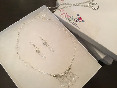 Genuine Crystal Necklace & Earring Set