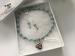 Genuine Blue Jade Necklace & Earring Set with Foral Rose Pendant