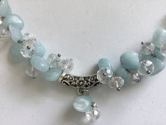 Genuine Aquamarine & Crystal Bracelet
