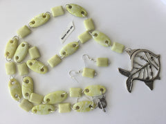 Genuine Lemon Jade Pendant Necklace & Earring Set