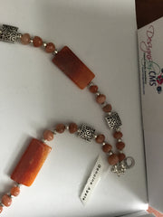 SOLD - Genuine Agate Necklace & Earring Set.