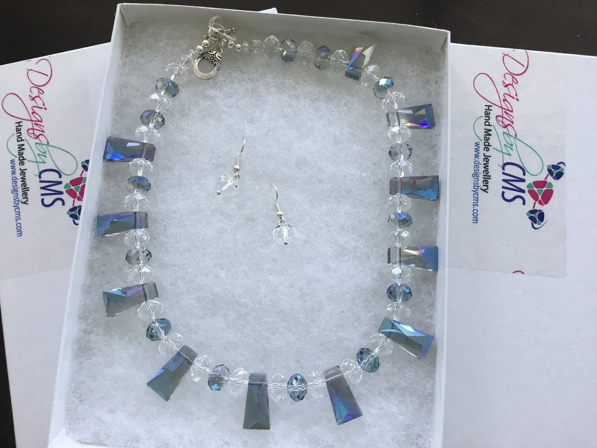 SOLD - Genuine Crystal & Shimmering Blue Beads Necklace & Earring Set