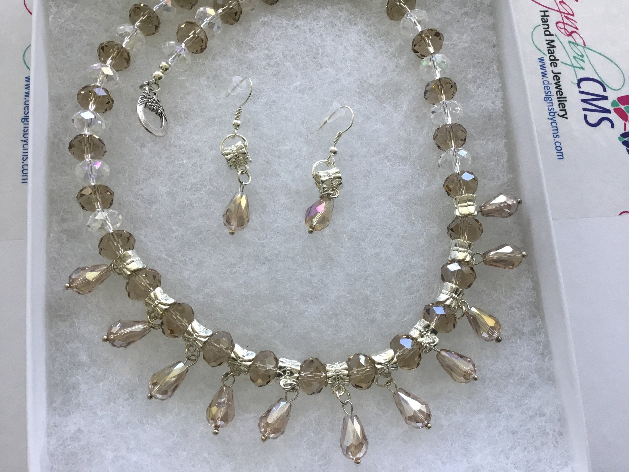 Genuine Clear & Taupe Crystal NeckLace & Earring Set