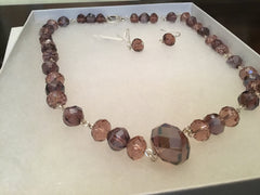 Iridescent Wine Crystal Necklace & Earring Set