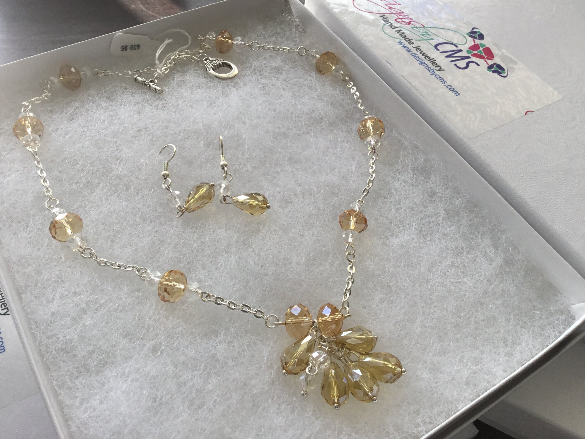 Amber Crystal Necklace & Earring Set