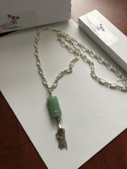 SOLD - Genuine Aventurine Pendant (Jade Look Alike) on Lovely Chain with Tassel.