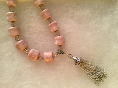 Shimmering Pink Ceramic Bead Choker with Genuine Pink Crystals & a Tassel.