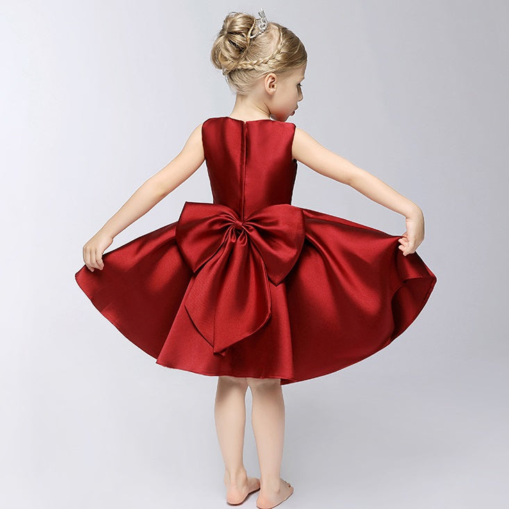 Summer Jupiter Satin Red Dress with Bow