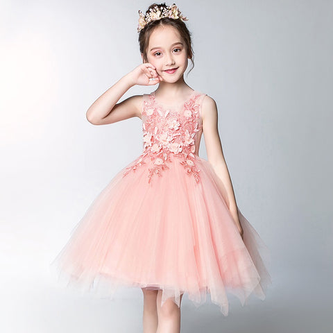 Summer Jupiter Pink Tulle Dress with Elegant Flower Details