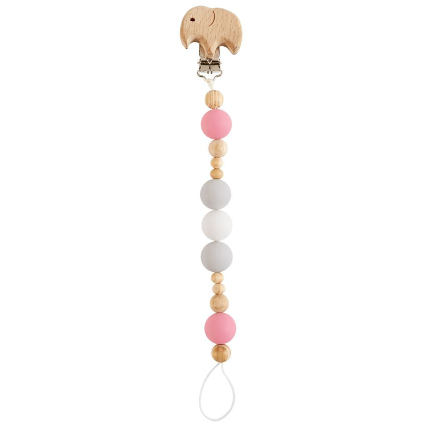Mud Pie - Pink Elephant Wooden Pacy Clip