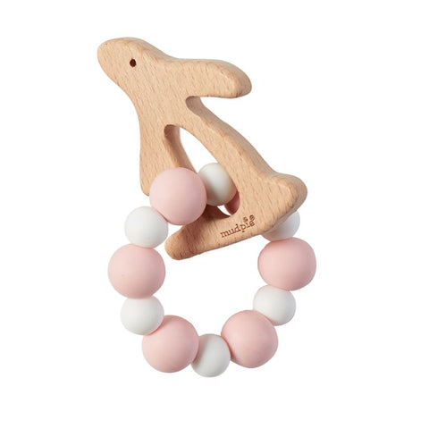 Mud Pie Natural Wood & Silicone Teether - Bunny Pink