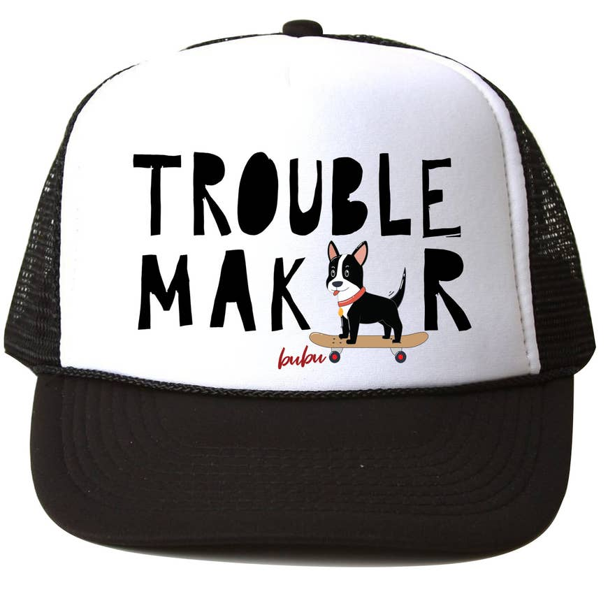 Bubu Trouble Maker White/Black Trucker Hat