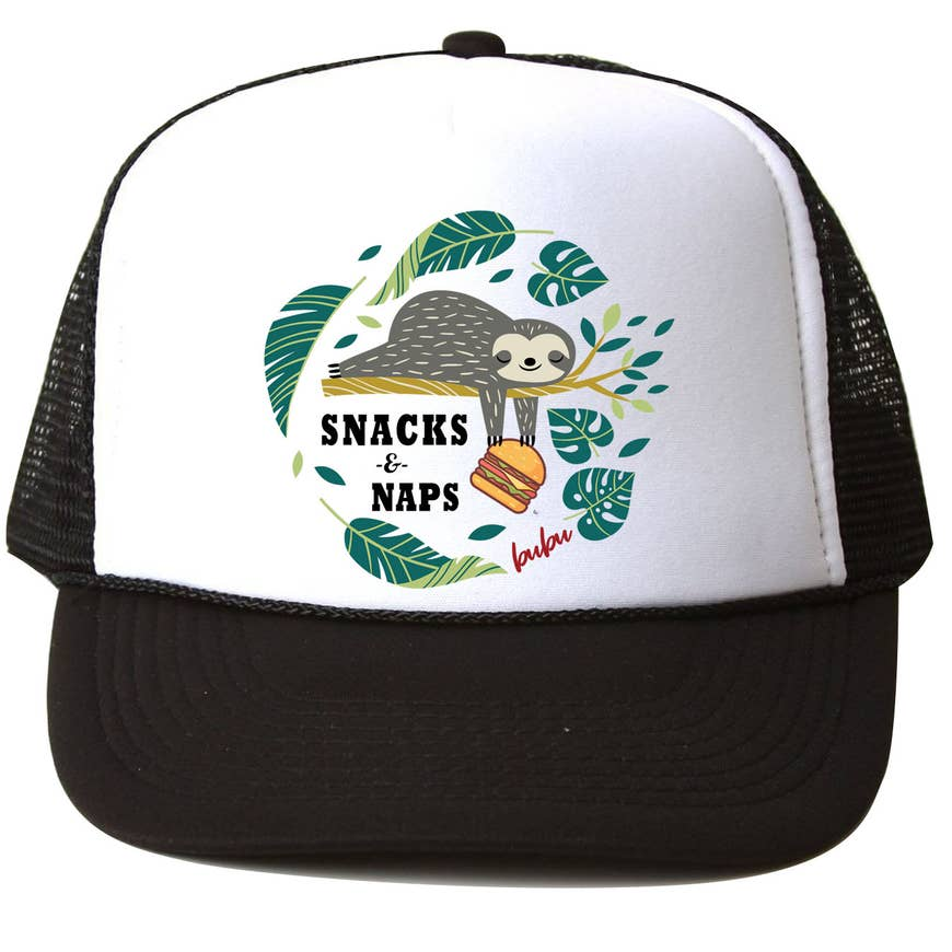 Bubu Snacks N Naps White/Black Trucker Hat