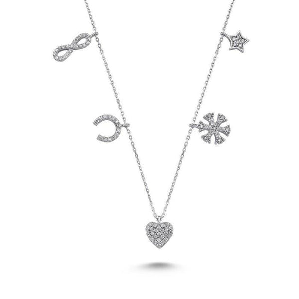 Amorium Charms Necklace in Silver