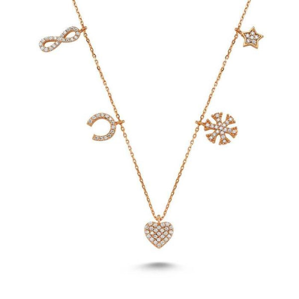 Amorium Charms Necklace in Rose Gold