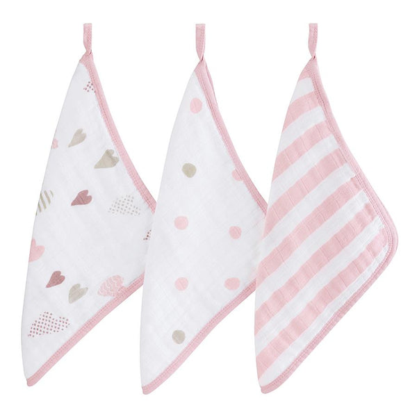 Aden + Anais Washcloth Set - Heart Breaker