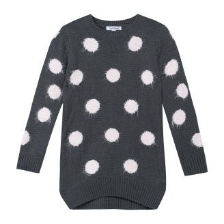 3 Pommes Charcoal Pink Dot Cardigan FW16