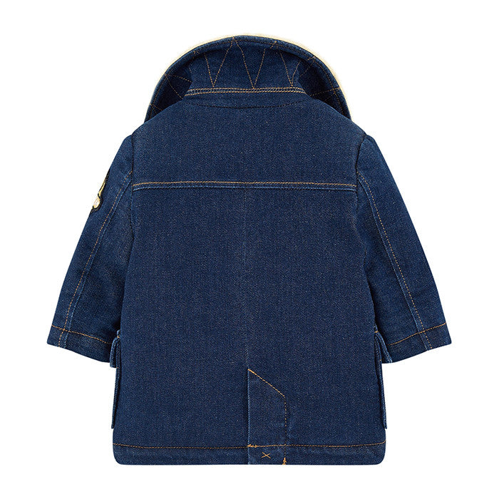 Little Marc Jacobs Denim Peacoat with Faux Fur Lining and Collar FW16