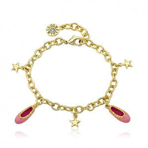 LMTS Ballet Beauty 14K Gold Plated Enamel Ballet Slippers & Star Charm Bracelet