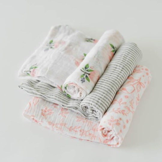Little Unicorn Cotton Swaddles - Garden Rose Set