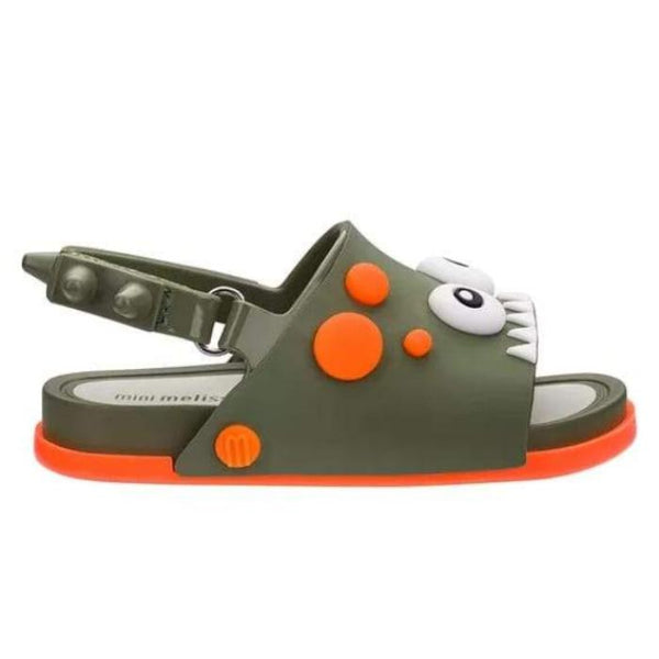 Mini Melissa Beach Slide Dino-Moss green/orange