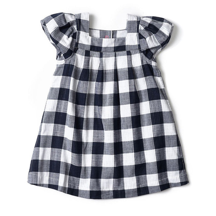 Egg Check Dress - Navy