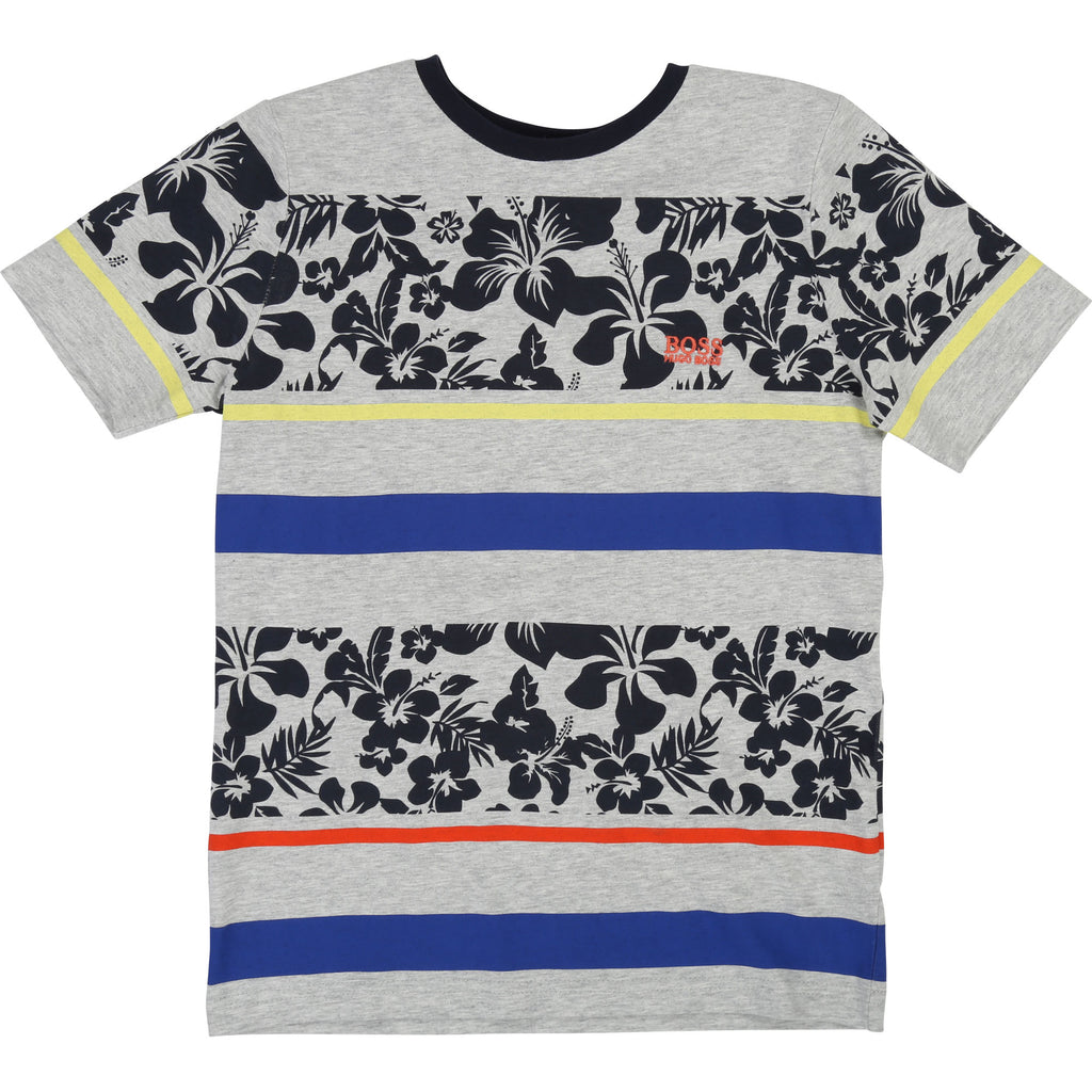 Hugo Boss SS T-shirt W/ Printed Hibiscus and Stripes