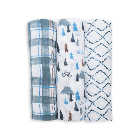 LuluJo Cotton Muslin Swaddle 3pk - Navy Mountain