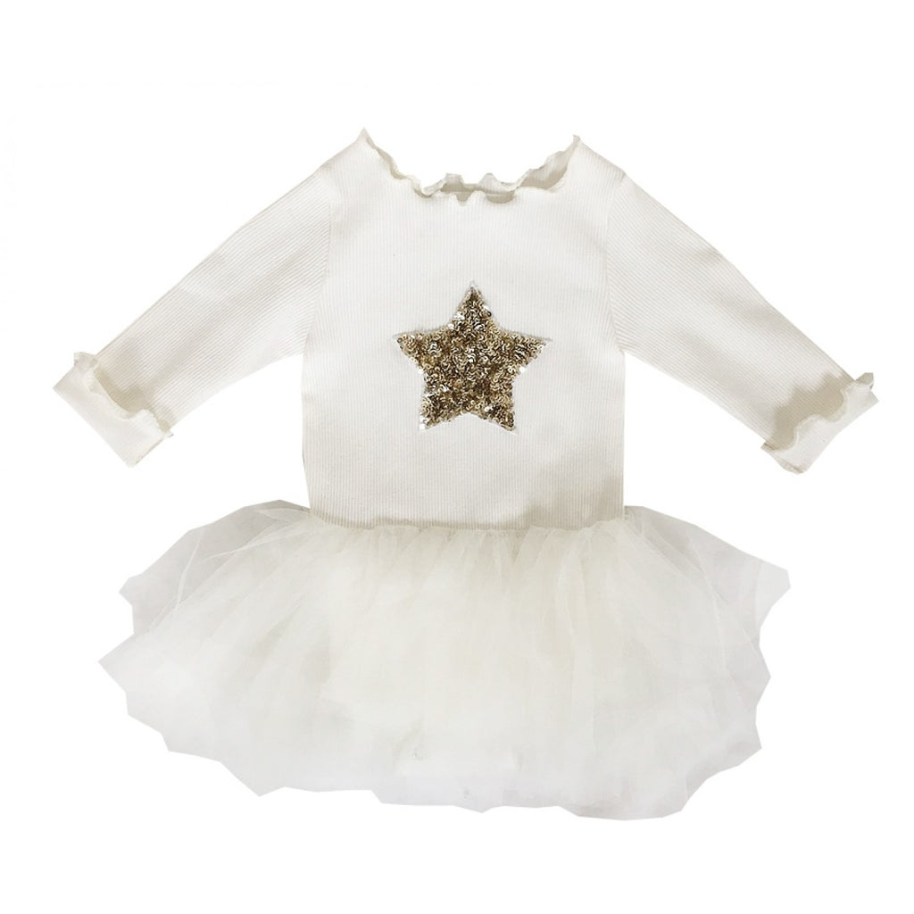 Petit Hailey PH Star Tutu Baby Onesie - Ivory