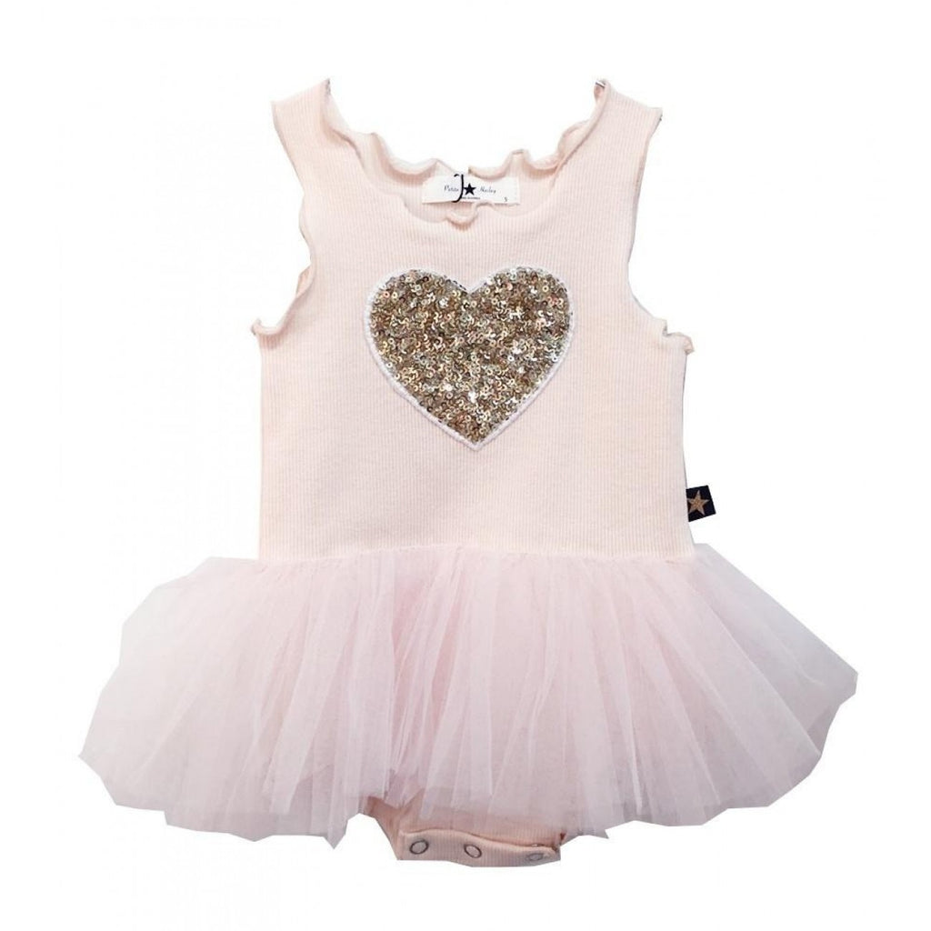 Petite Hailey Gold Heart Soft Pink Dress