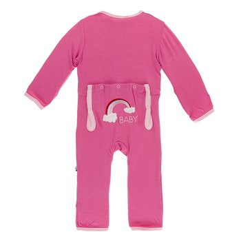 Kickee Pants Holiday Applique Coverall - Flamingo Rainbow Baby