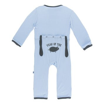 Kickee Pants Holiday Applique Coverall - Pond Year of the Pig